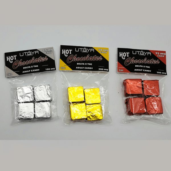 Delta 8 Chocolate Squares - Pack of 4 Product Line - Silver 25 mg, Gold 50 mg, and Red 75 mg Chocolates
