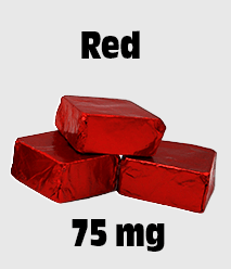 Delta 8 Edibles: Delta 8 Chocolate 75 mg Red 75 mg Defined Display. Small Image.