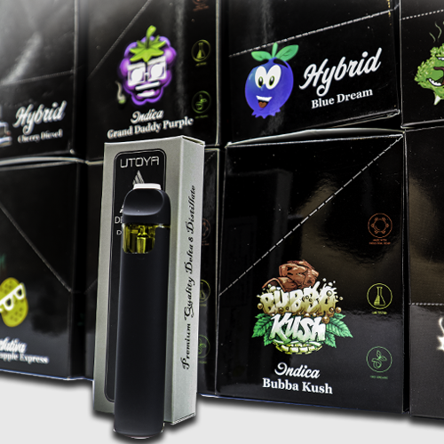 Disposable Vape Set 8 Strains - Side View With Vape