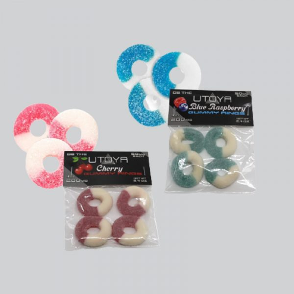Delta 8 THC Gummy Rings Cherry and Blue Raspberry 50 mg